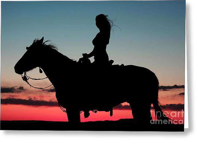 Val Armstrong Greeting Cards - Sunset Ride Greeting Card by Val Armstrong