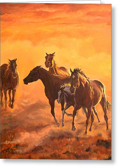 Quarter Horse Paintings Greeting Cards - Sunset run Greeting Card by Jana Goode