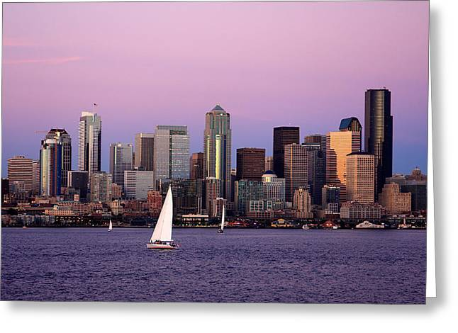 Sailboat Photos Greeting Cards - Sunset Sail in Puget Sound Greeting Card by Adam Romanowicz