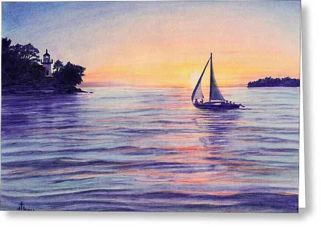 Yellow Sailboats Drawings Greeting Cards - Sunset Sailboat Greeting Card by Diane Bay