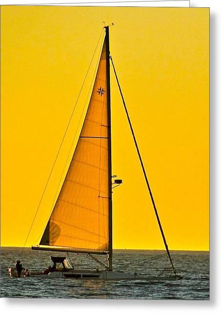 Ventura California Greeting Cards - Sunset Sailing Greeting Card by Liz Vernand