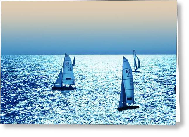 Yatch Greeting Cards - Sunset sailing Greeting Card by Sharon Lisa Clarke