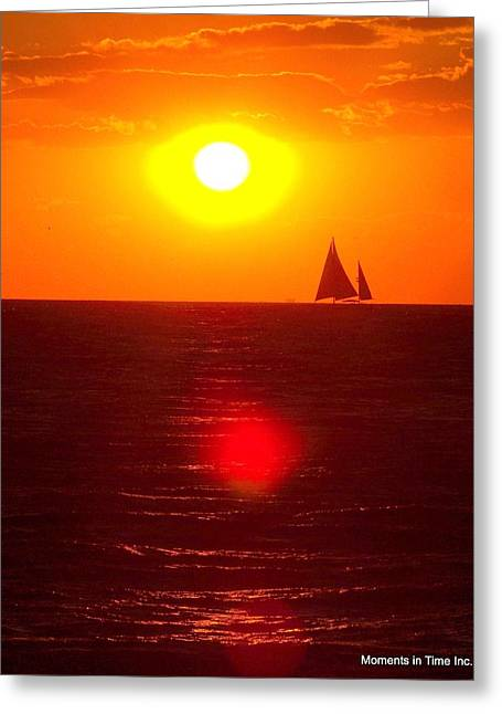 Color_image Greeting Cards - Sunset Sailor 2005 Greeting Card by Glenn McCurdy