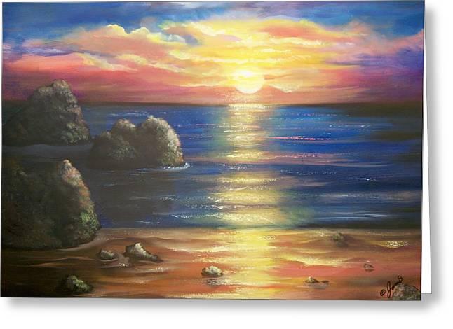 Sunset Seascape Greeting Card by Joni McPherson
