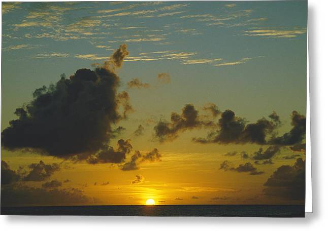 Saint-martin Greeting Cards - Sunset Seen From Saint Martin Island Greeting Card by Todd Gipstein