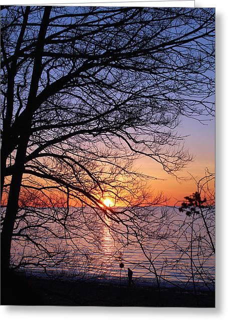 York Beach Greeting Cards - Sunset Silhouette 1 Greeting Card by Peter Chilelli