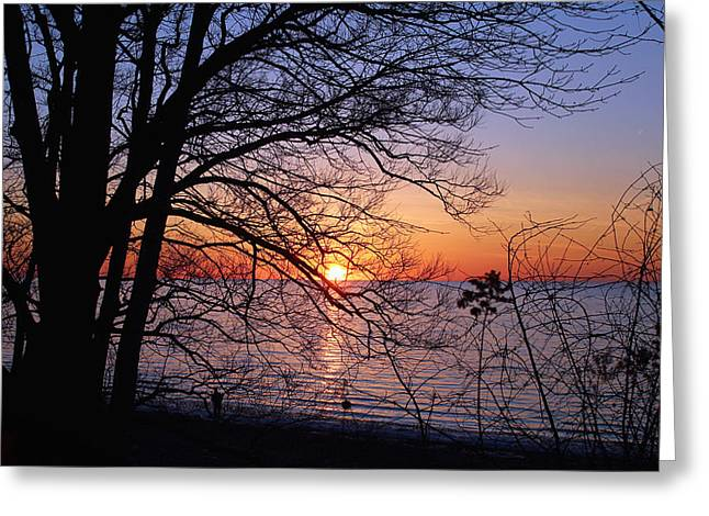 Lake Erie Photographs Greeting Cards - Sunset Silhouette 2 Greeting Card by Peter Chilelli