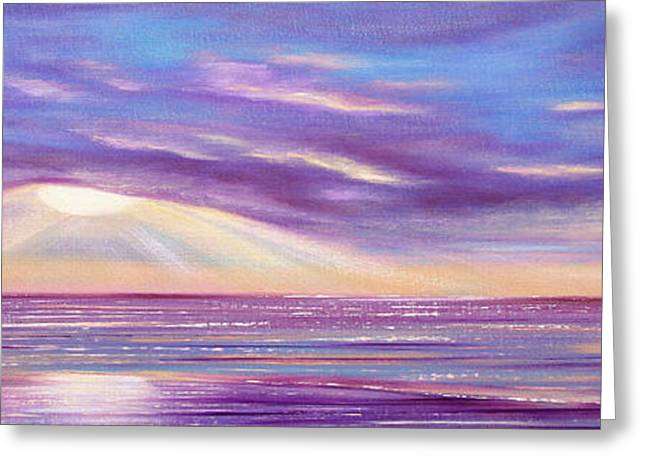 Sunset Posters Greeting Cards - Sunset Spectacular - Panoramic Sunset Greeting Card by Gina De Gorna