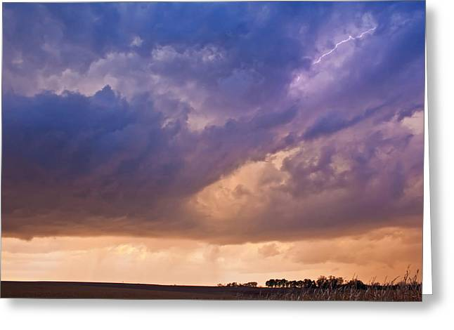 Sunset Storm Greeting Card by Chris Allington