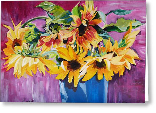Suzanne Willis Greeting Cards - Sunset Sunflowers Greeting Card by Suzanne Willis