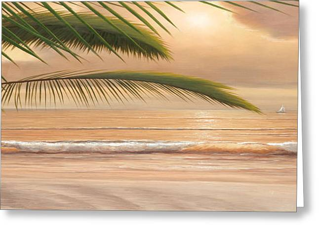 Sunset Surf Panoramic Greeting Card by Diane Romanello