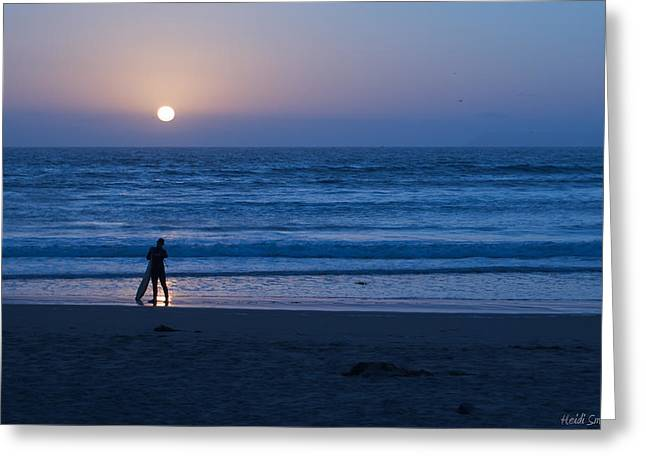 Sunset Surfer Greeting Card by Heidi Smith