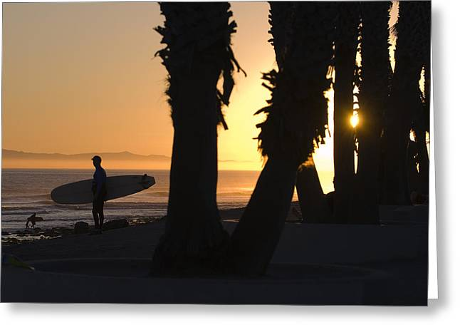 Ventura California Greeting Cards - Sunset Surfer Silhouette At C Street Greeting Card by Rich Reid