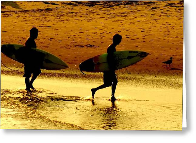 Beach Sunsets Greeting Cards - Sunset Surfers  Greeting Card by Benanne Stiens