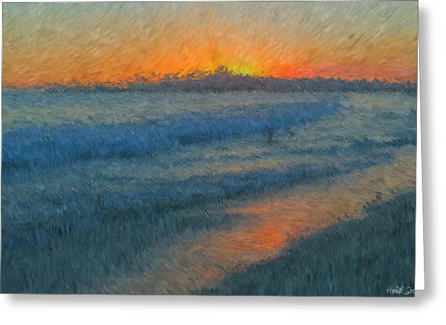 Sunset Surfers Greeting Card by Heidi Smith