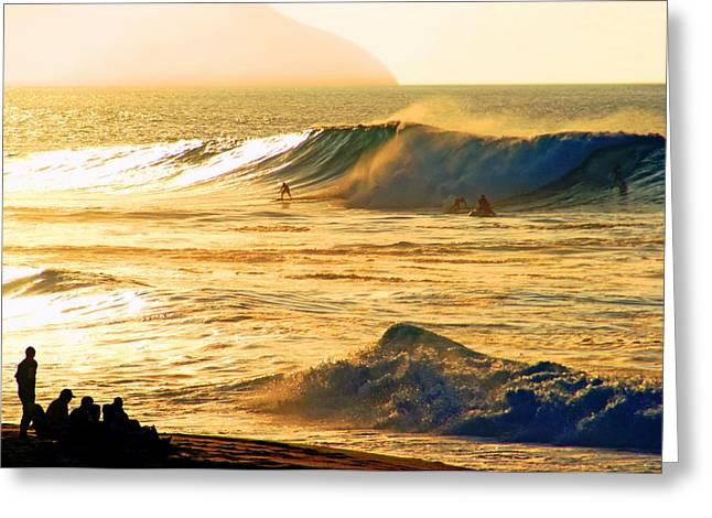 Surf Silhouette Greeting Cards - Sunset Surfers Greeting Card by Kevin Smith
