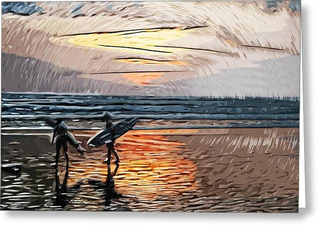 Tilly Art Greeting Cards - Sunset Surfers Greeting Card by Tilly Williams