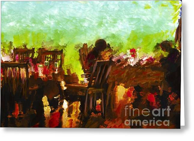 Sunset Terrace Intimacy Greeting Card by Marilyn Sholin