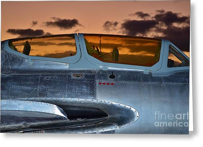 Sunset Through the Cockpit Greeting Card by Lynda Dawson-Youngclaus