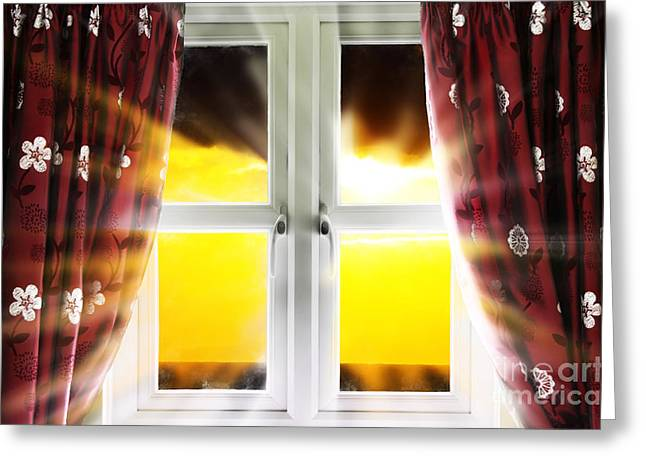 White Cloth Photographs Greeting Cards - Sunset through window Greeting Card by Simon Bratt Photography LRPS