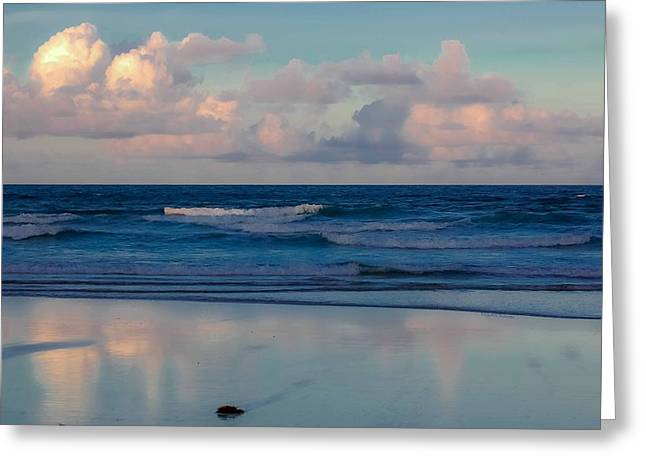 Blue Green Wave Greeting Cards - Sunset Tides Greeting Card by DigiArt Diaries by Vicky B Fuller