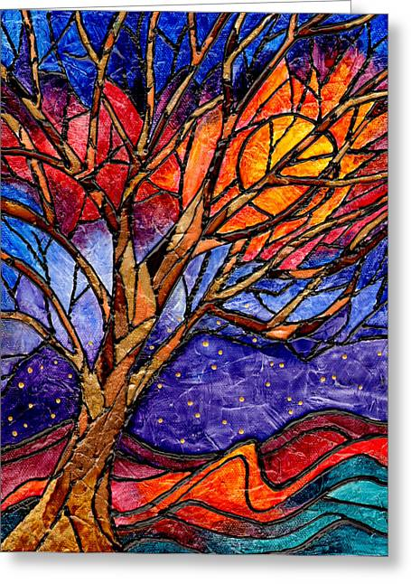 Sunset Tree Abstract Greeting Card by Elaine Hodges