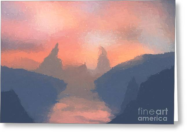 Sunset Valley  Greeting Card by Pixel  Chimp