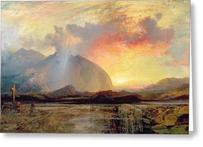 Old Relics Greeting Cards - Sunset Vespers at the Old Rugged Cross Greeting Card by Thomas Moran