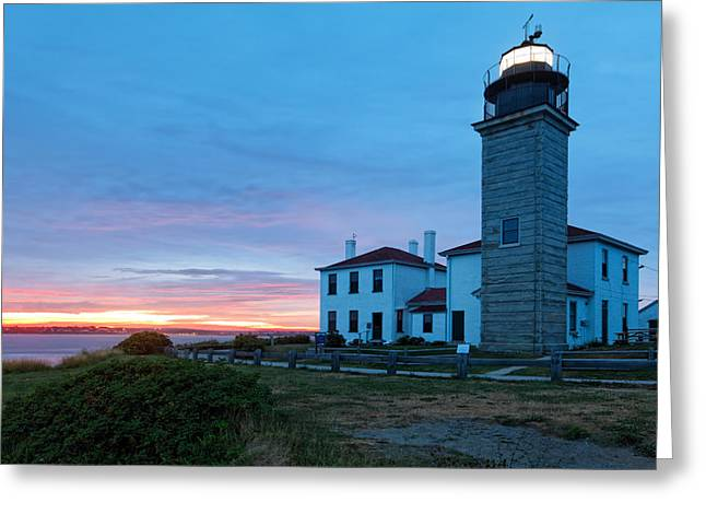 New England Lighthouse Greeting Cards - Sunset View of the Beavertail Lighthouse Greeting Card by George Oze