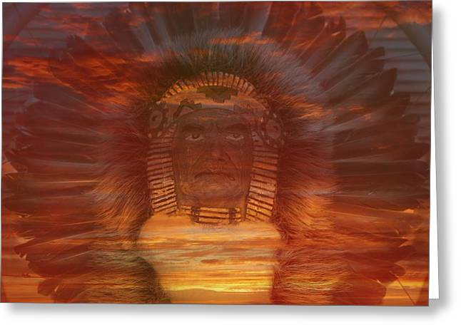 Chief Red Cloud Greeting Cards - Sunset Warrior Greeting Card by Lori Seaman