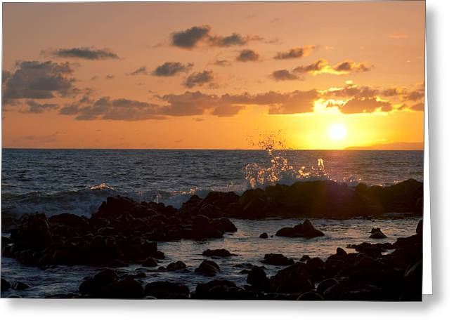 Amazing Sunset Greeting Cards - Sunset Wave Crash Greeting Card by Greg Vaughn - Printscapes