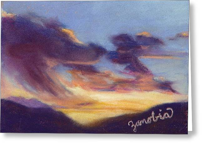 Steamboat Pastels Greeting Cards - Sunset West of Town Greeting Card by Zanobia Shalks