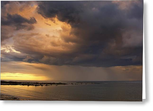 Worn In Greeting Cards - Sunset With A Stormy Sky, Sunderland Greeting Card by John Short