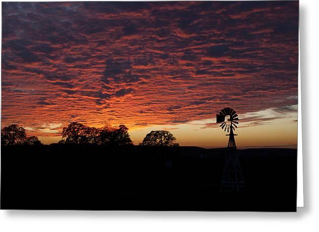 Randy Bayne Greeting Cards - Sunset with Windmill Greeting Card by Randy Bayne