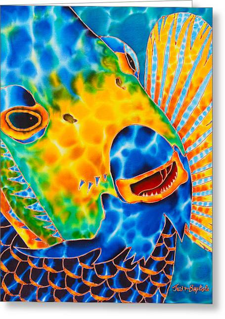 Caribbean Art Tapestries - Textiles Greeting Cards - Sunshine Angelfish Greeting Card by Daniel Jean-Baptiste