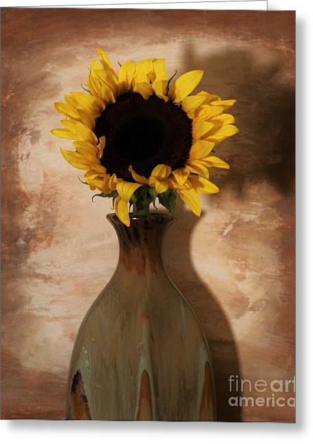 Still Life Photographs Greeting Cards - Sunshine on My Sunflower Greeting Card by Marsha Heiken