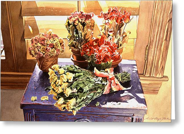 Flower Still Life Greeting Cards - Sunshine Roses Greeting Card by David Lloyd Glover