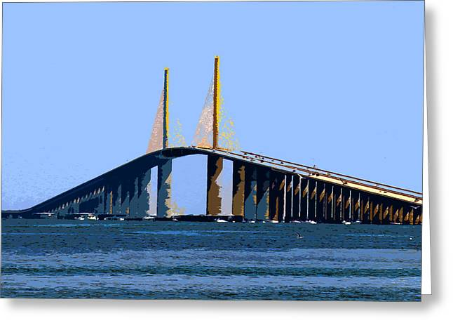 Sunshine Skyway Bridge Greeting Cards - Sunshine Skyway Summer Greeting Card by David Lee Thompson