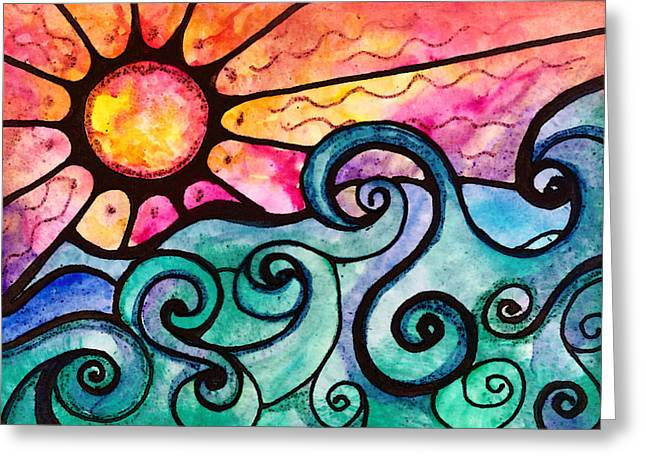 Sunset Seascape Greeting Cards - Sunview Greeting Card by Robin Mead