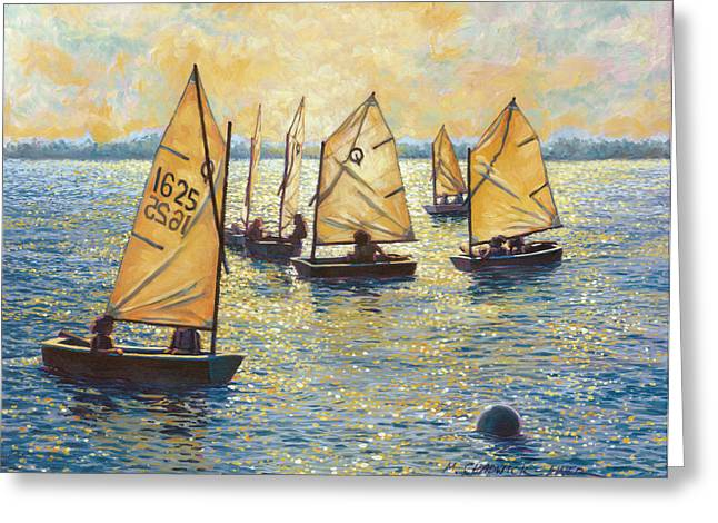 Backlit Paintings Greeting Cards - Sunwashed Sailors Greeting Card by Marguerite Chadwick-Juner