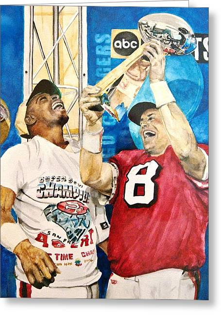 Jerry Rice Greeting Cards - Super Bowl Legends Greeting Card by Lance Gebhardt