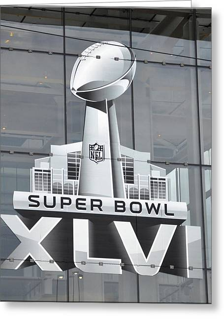 New England Village Greeting Cards - Super Bowl XLVI Window  Greeting Card by Brittany H