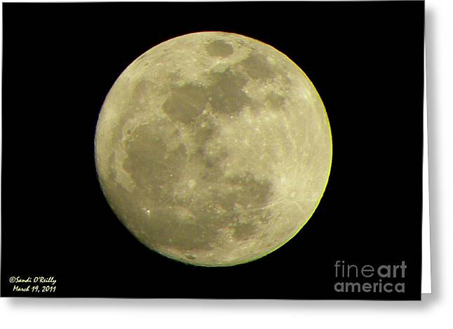 Man In The Moon Greeting Cards - Super Moon March 19 2011 Greeting Card by Sandi OReilly