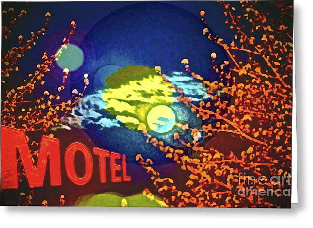 Motel Mixed Media Greeting Cards - Super Moon Motel Greeting Card by Gwyn Newcombe