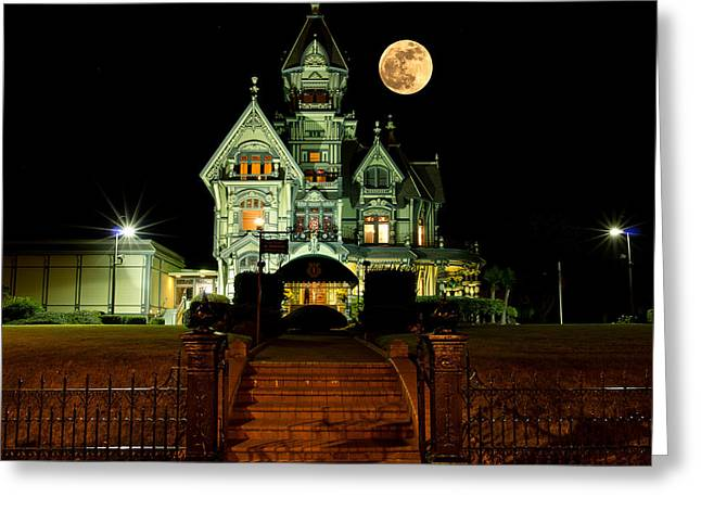 Super Moon Greeting Cards - Super Moon over Carson Mansion Greeting Card by Greg Nyquist