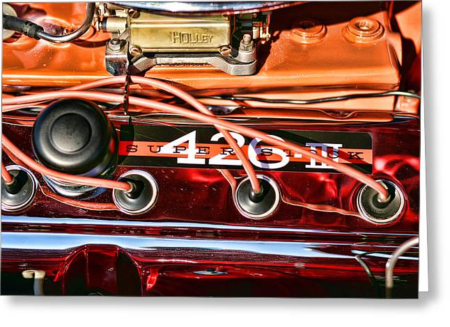 Furious Greeting Cards - Super Stock SS 426 III HEMI Motor Greeting Card by Gordon Dean II