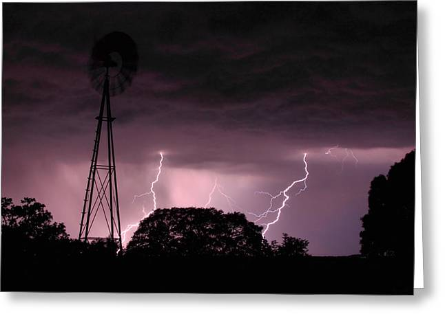 Lightening Greeting Cards - Super Storm Greeting Card by Linda Unger