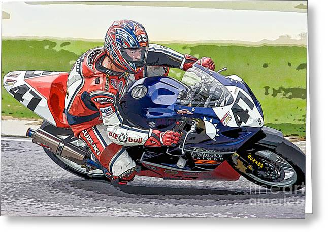 Superbikes Greeting Cards - Superbike Racer I Greeting Card by Clarence Holmes
