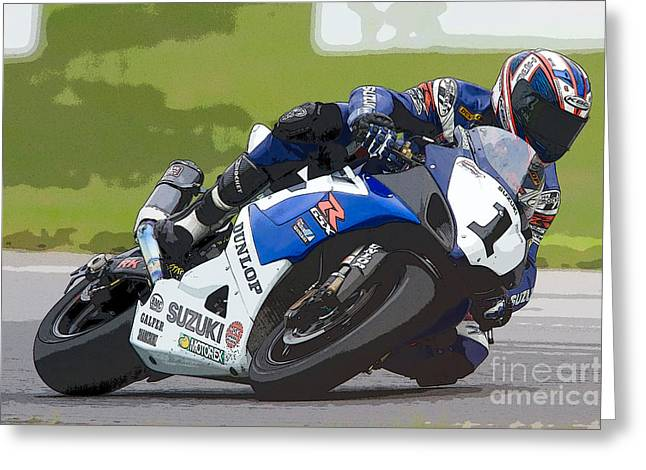 Superbikes Greeting Cards - Superbike Racer III Greeting Card by Clarence Holmes