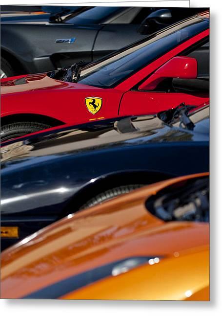 Famous Photographers Greeting Cards - Supercars Ferrari Emblem Greeting Card by Jill Reger